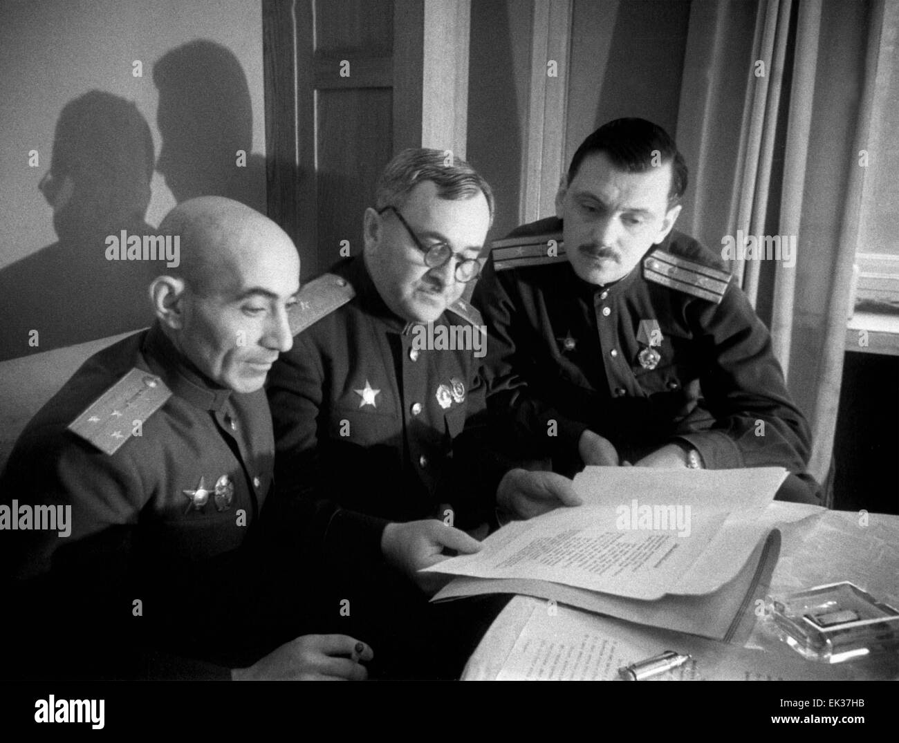 Authors of the Soviet anthem. L-R: writer Gabriel El-Registan, professor Alexander Alexandrov and poet Sergei Mikhalkov. - Stock Image