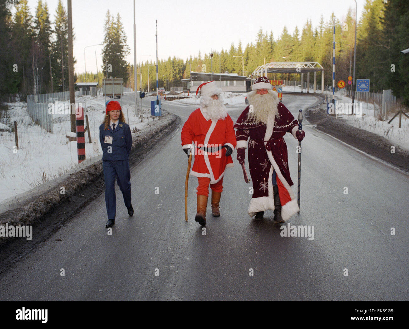 december 28 santa claus centre and grandfather frost r met on the new year eve on the russo finnish border near the customs office