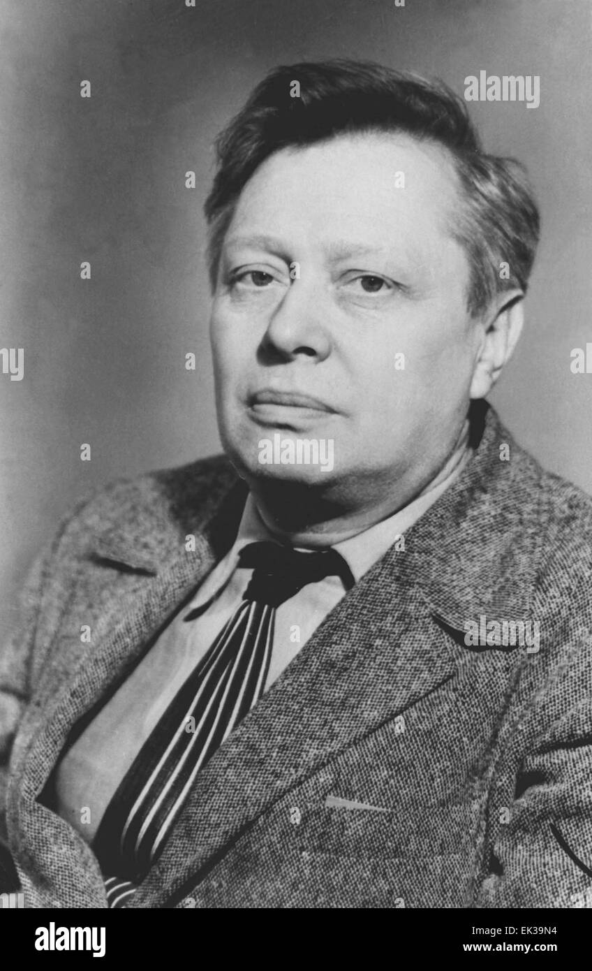 Peoples' Artist of the Soviet Union and Member of the Soviet Committee on peace defence Sergei Obraztsov. - Stock Image