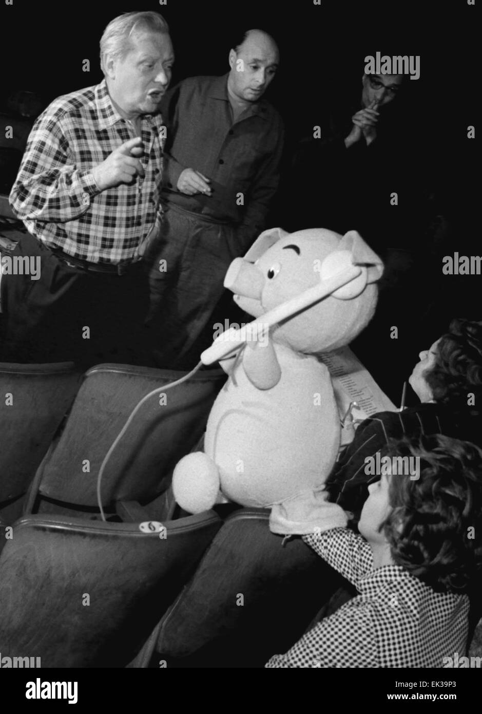 USSR. Moscow. Central Puppetry. People's Artist of the USSR Sergei Obraztsov is pictured at rehearsal of Kornei - Stock Image