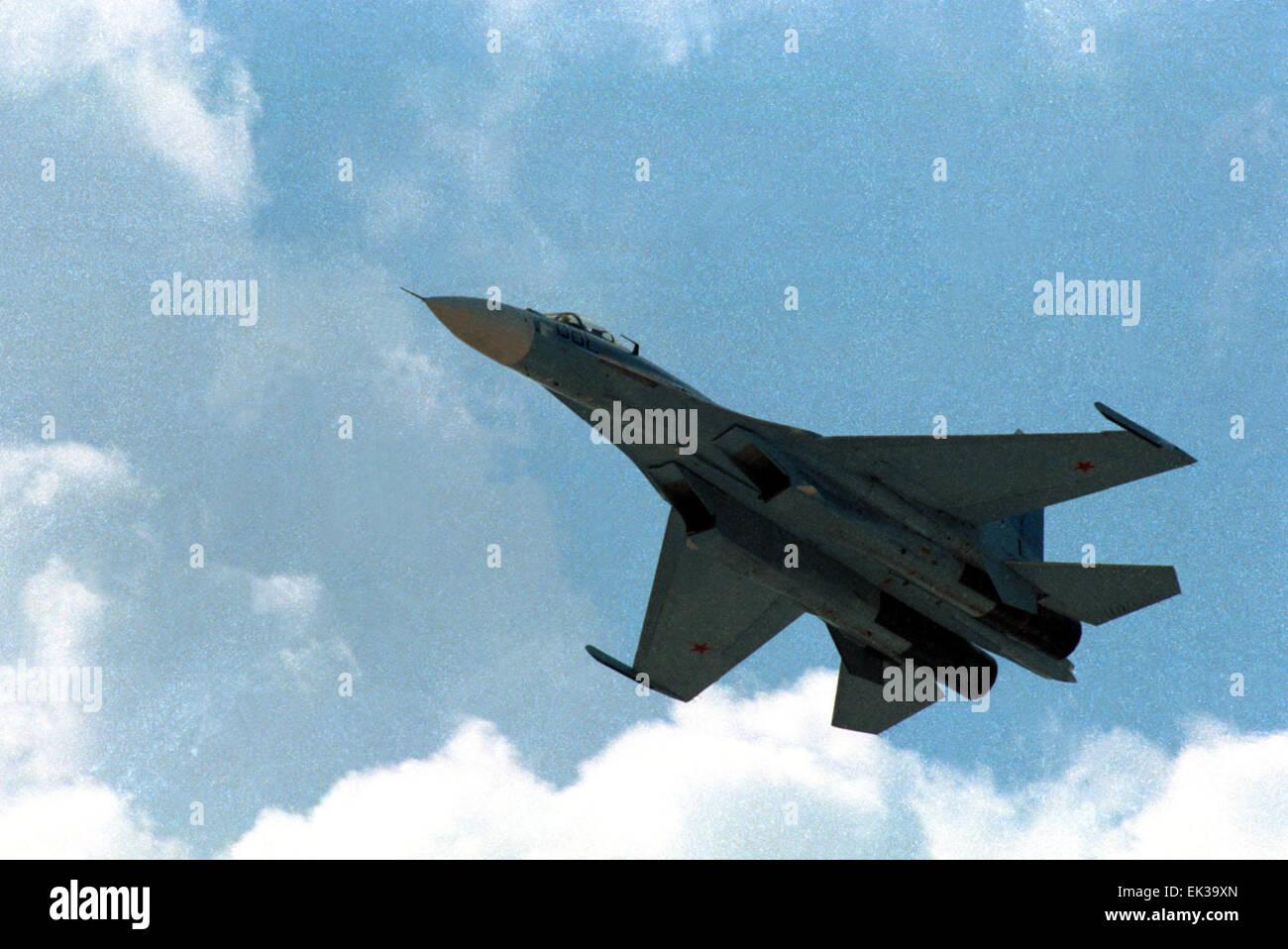 ZHUKOVSKY, RUSSIA. Sukhoi Su-27 (Flanker) jet fighter. - Stock Image