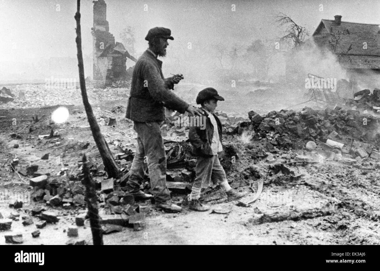 Ulyanovo, Kaluga region. July, 1943. 'Enemies have burnt out the Motherland' photo by Mikhail Savin 1943. - Stock Image