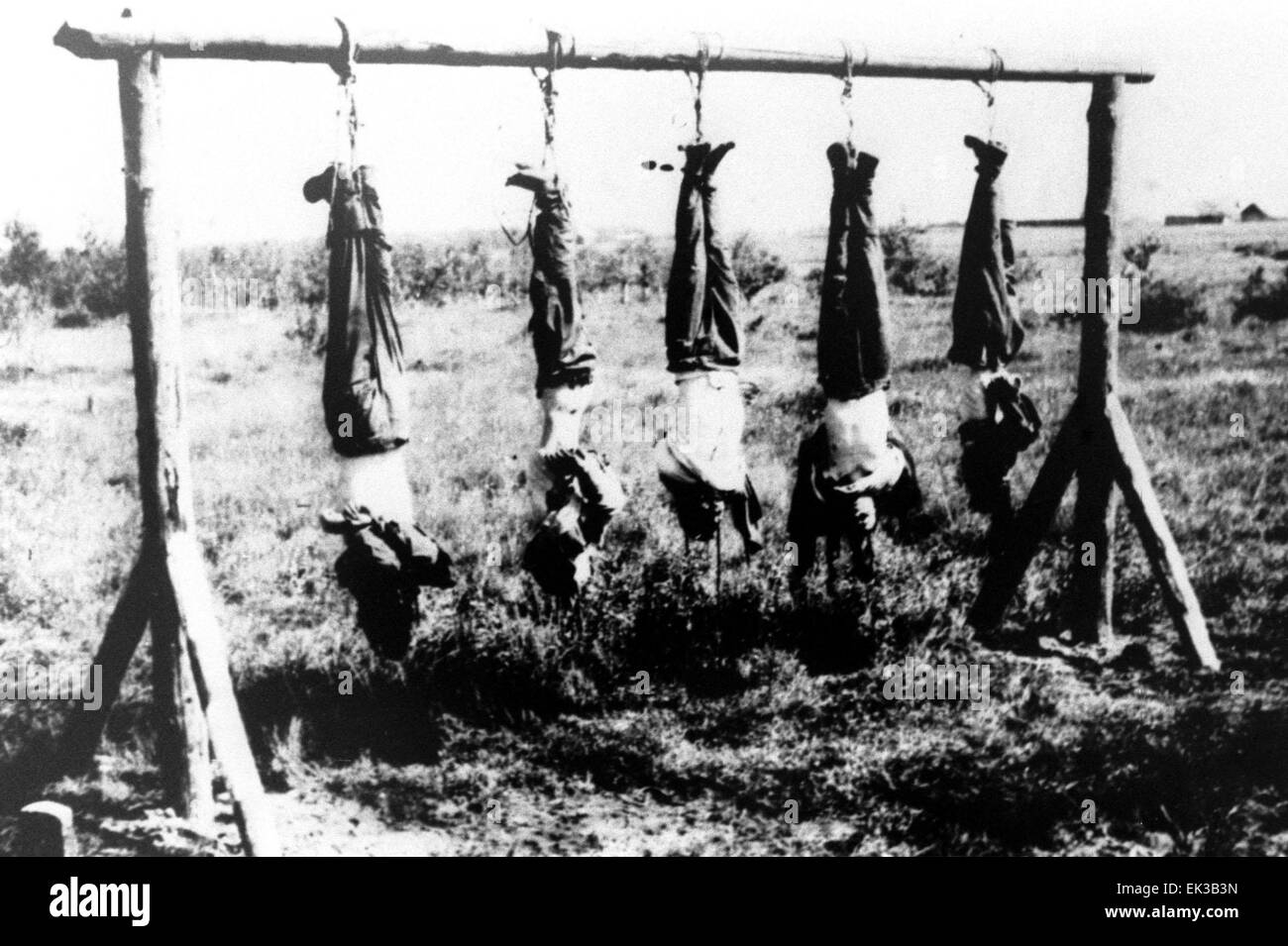 The picture shows hanged Soviet guerillas, 1943. (Repro photo by - Stock Image