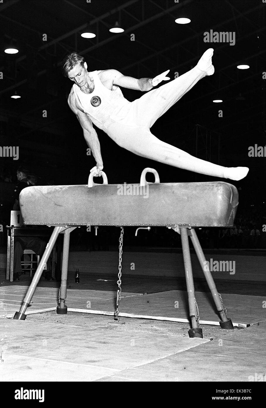 Australia. Melbourne. XVI Summer Olympics. Gymnast B. Shakhlin USSR performs on the pommel horse. - Stock Image