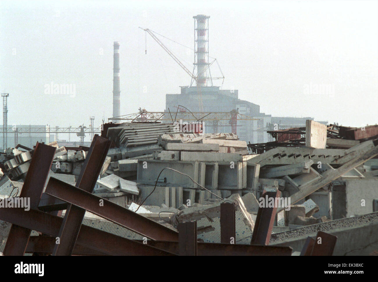 USSR, UKRAINE. The Chernobyl Nuclear Power Plant five years after the April 1986 disaster. The power plant consists - Stock Image
