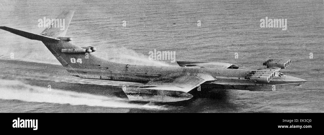 KM Ekranoplan wing in ground-effect aircraft, dubbed Caspian Sea Monster by US spies. The aircraft weighs 540 metric - Stock Image