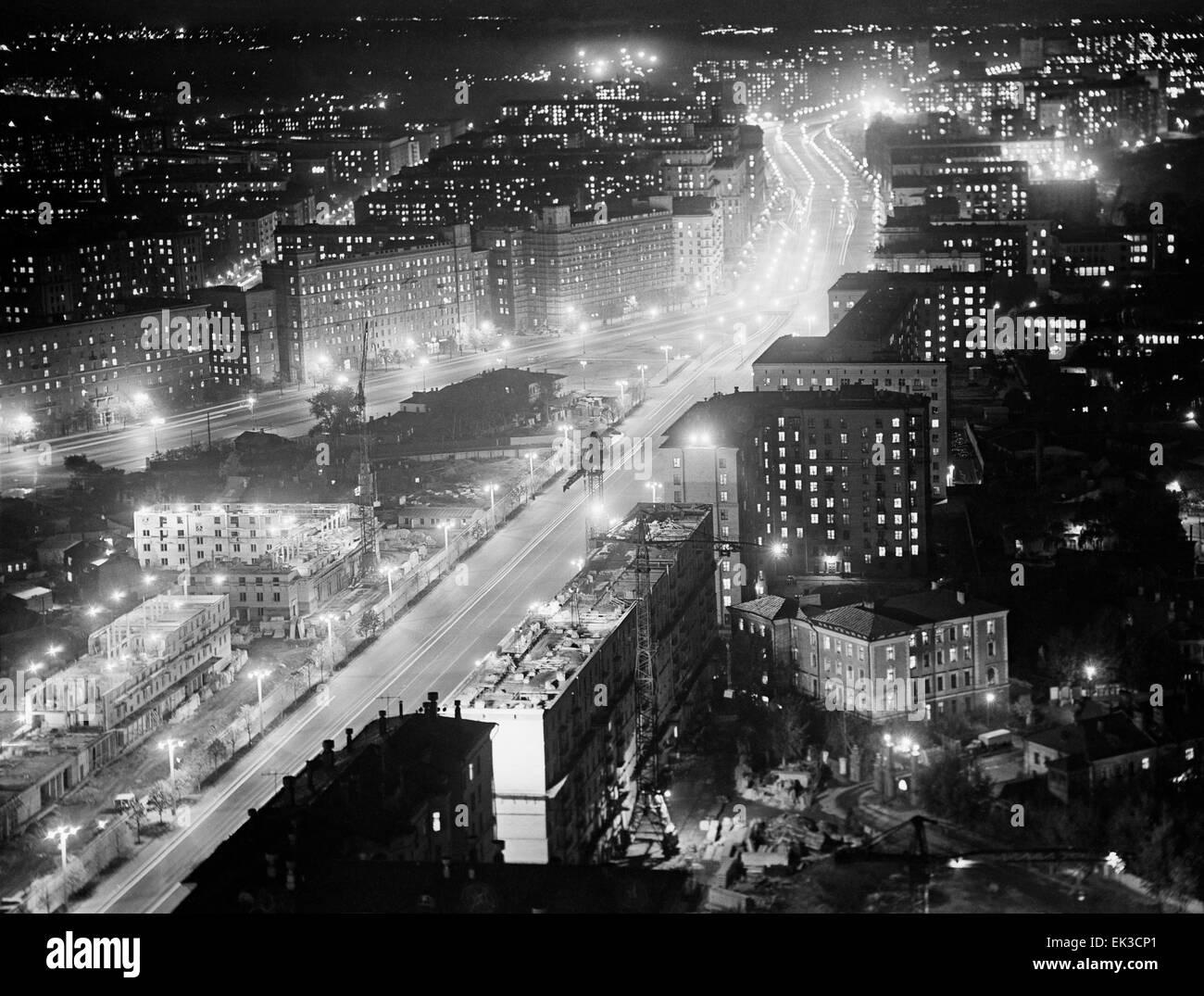 Moscow's Kutuzovsky Prospekt in the evening. - Stock Image