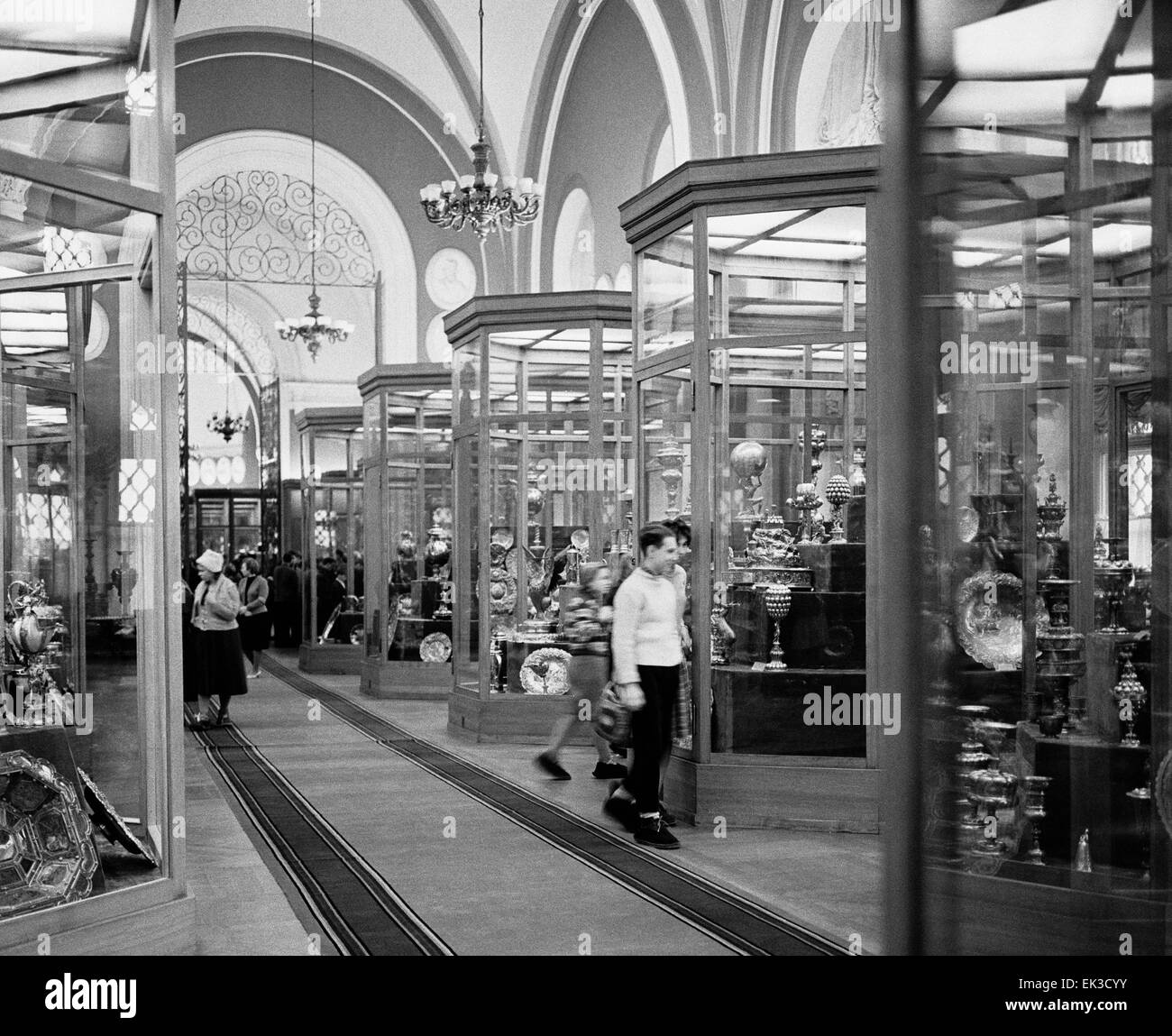 Moscow. USSR. Inside of one of the halls of the Kremlin Armoury. - Stock Image