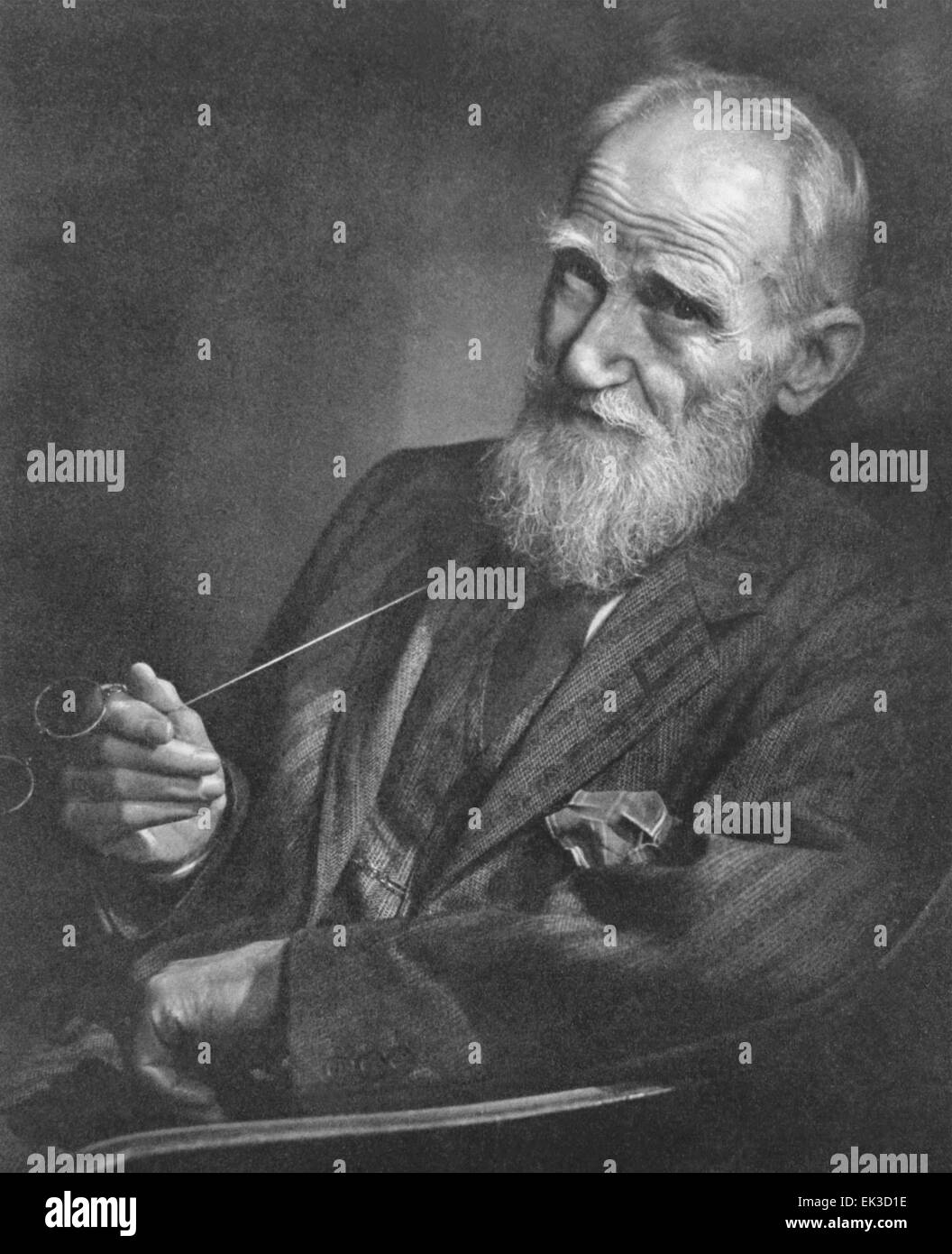 Pictured in this reproduced file image is Irish playwright, George Bernard Shaw, with 'pince-nez' spectacles. Stock Photo
