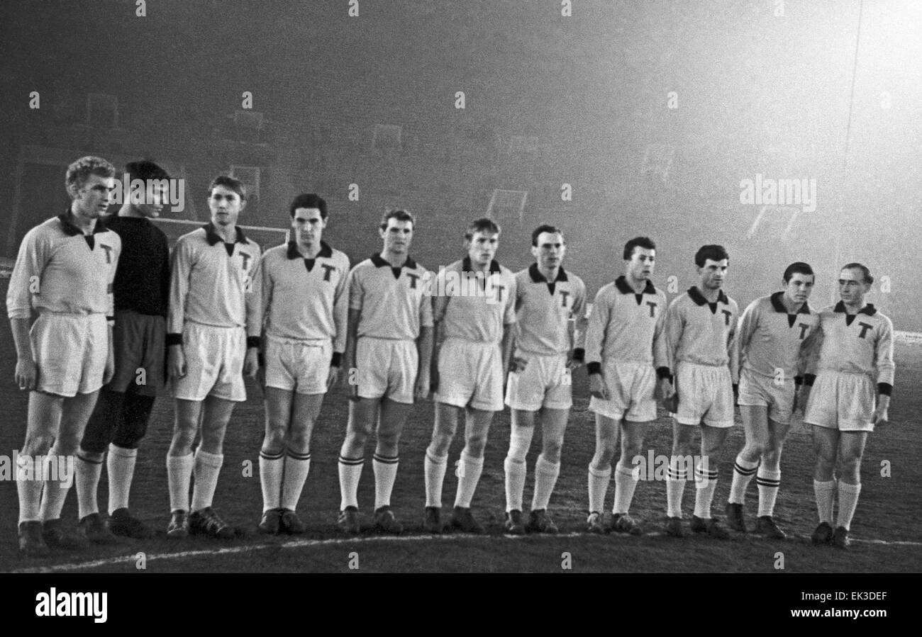 USSR. Moscow. Torpedo (Moscow) football team is a winner of the Soviet championship. L-R: M. Medakin, A. Polikanov, Stock Photo