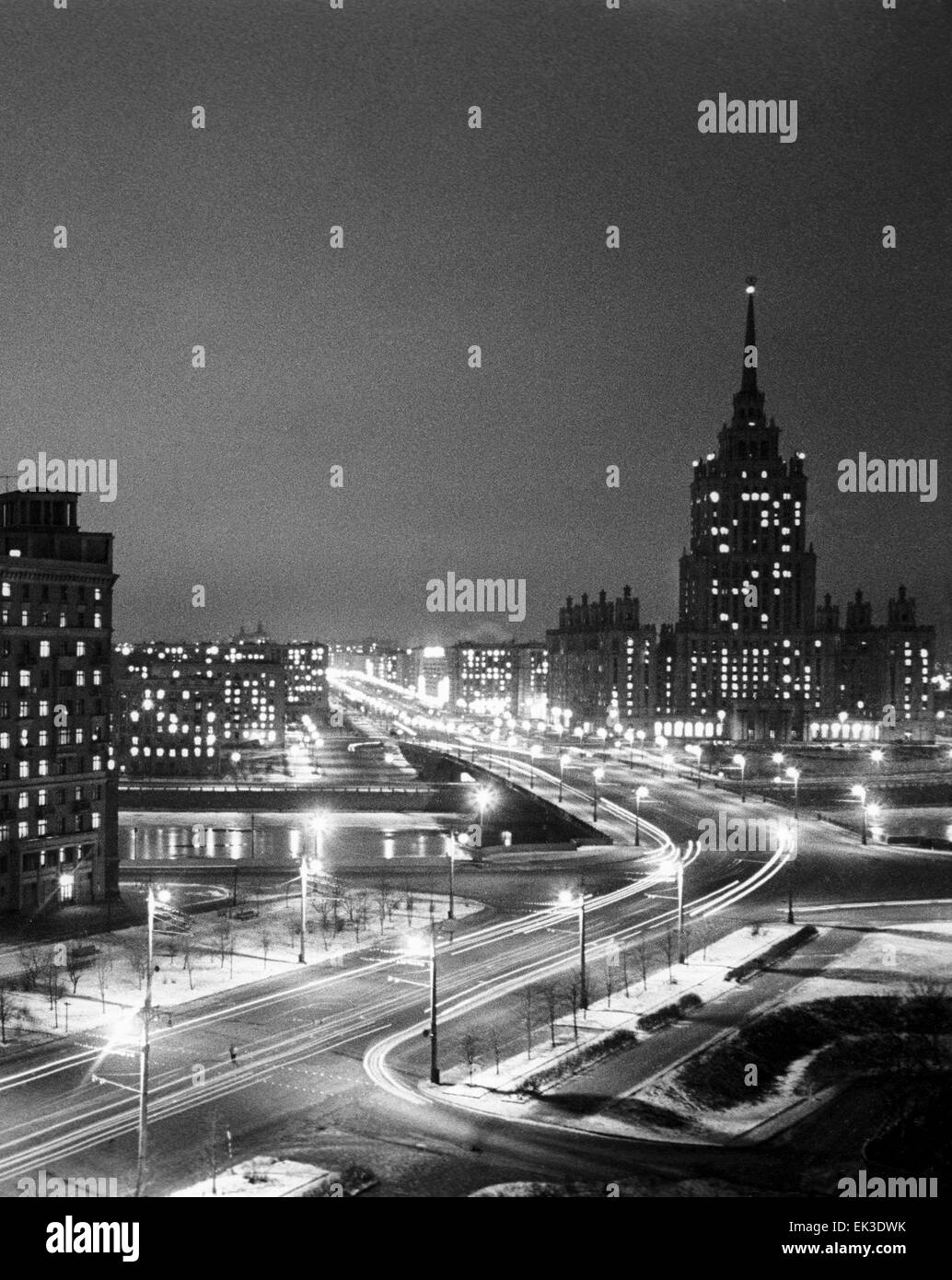 Moscow. USSR. A view of Kutuzov Avenue at night. - Stock Image