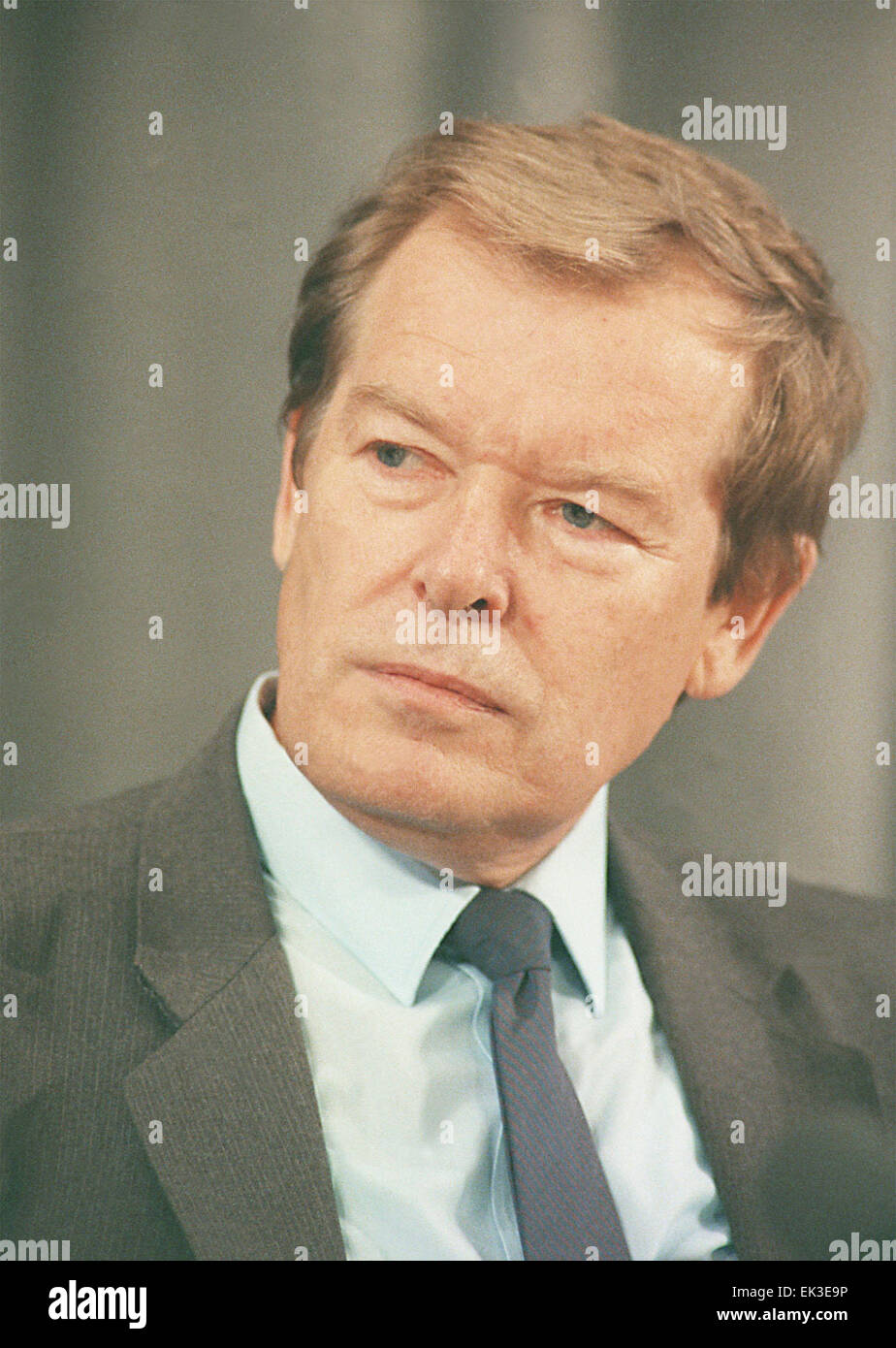 MOSCOW, RUSSIA. Head of KGB Vadim Bakatin at a press-conference, 1991. - Stock Image