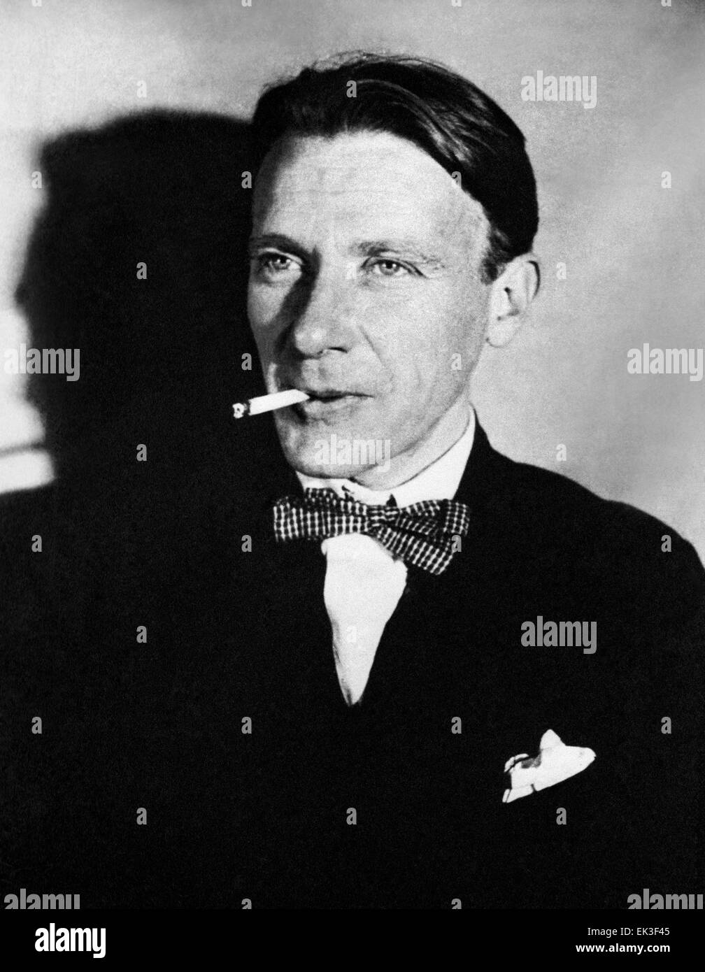 Moscow. USSR. Russian writer Mikhail Bulgakov 1891-1940. Reproduction. - Stock Image