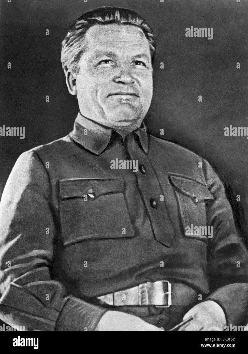 LENINGRAD, USSR. Soviet political leader Sergey Kirov at a regional Communist party conference. - Stock Image