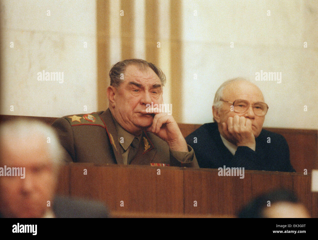 Moscow. Minister of defense of the USSR Dmitry Yazov and chairman of the KGB Vladimir Kryuchkov are pictured at - Stock Image