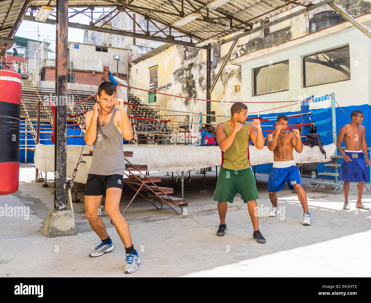 Cuban boxers train outside by the boxing ring at the Rafael Trejo Boxing Gym in Havana. - Stock Image