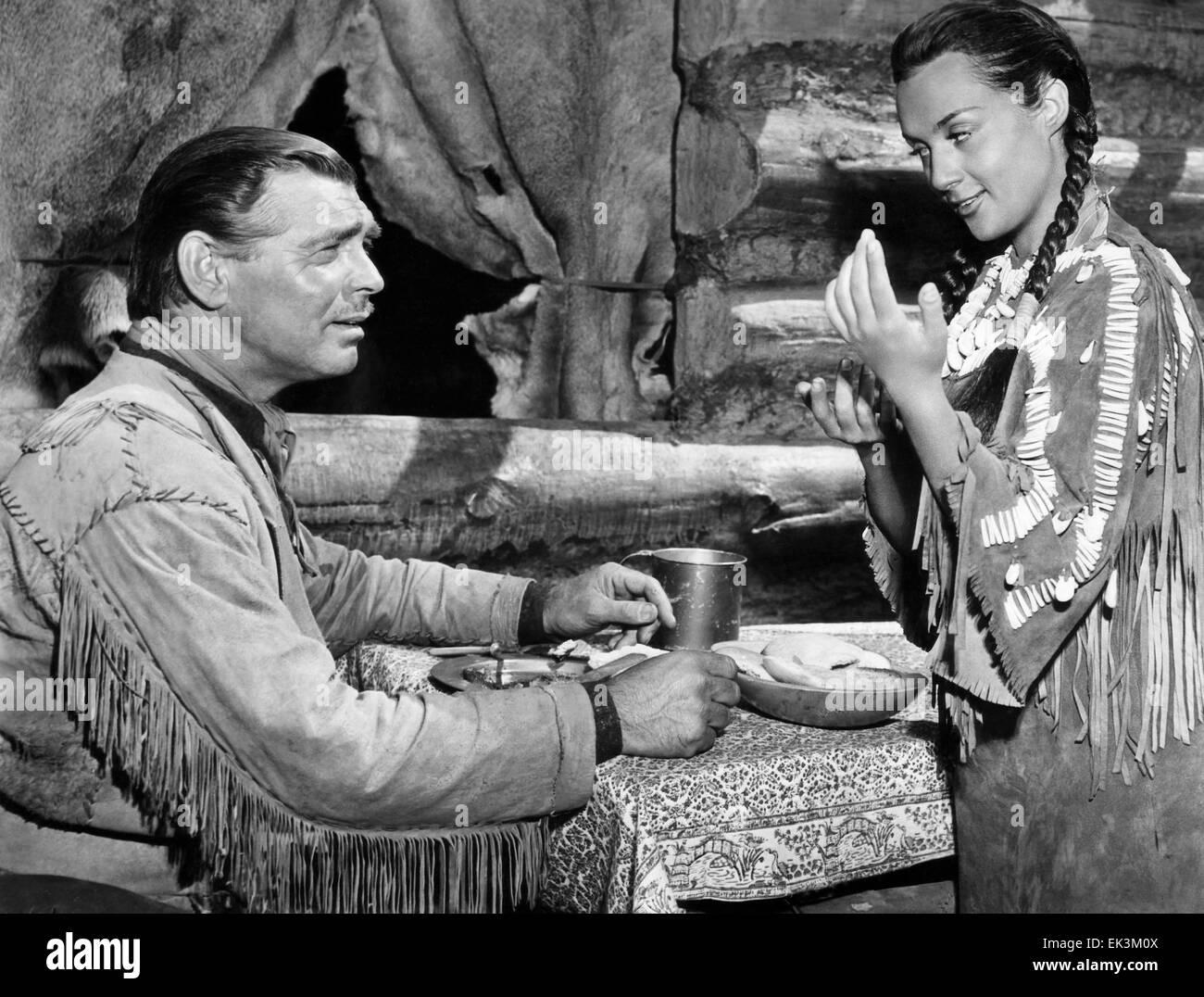 Clark Gable, Maria Elena Marques, on-set of the Film 'Across the Wide Missouri', 1951 - Stock Image