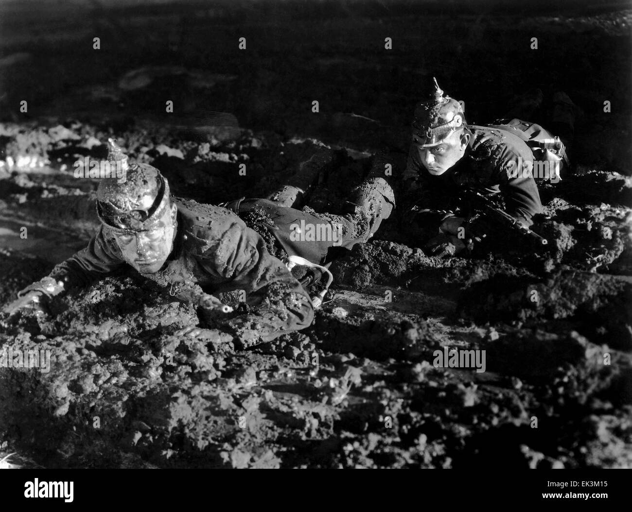 Two Soldiers on-set of the Film 'All Quiet on the Western Front', 1930 - Stock Image