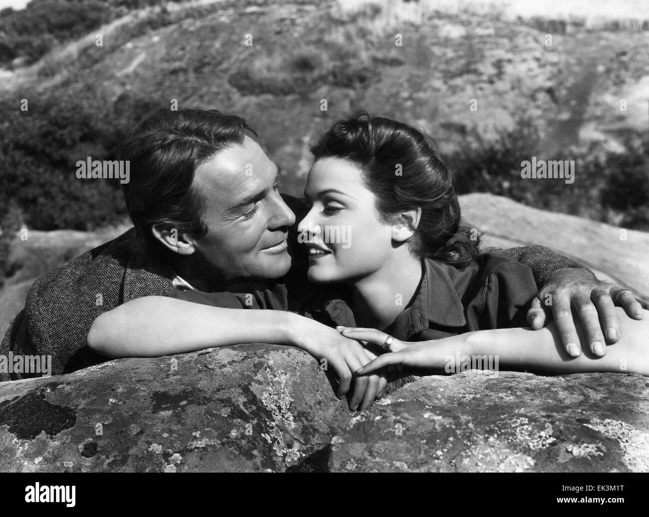 Randolph Scott, Gene Tierney, on-set of the Film ' Belle Star', 1941, 20th Century Fox Film Corp. All rights - Stock Image
