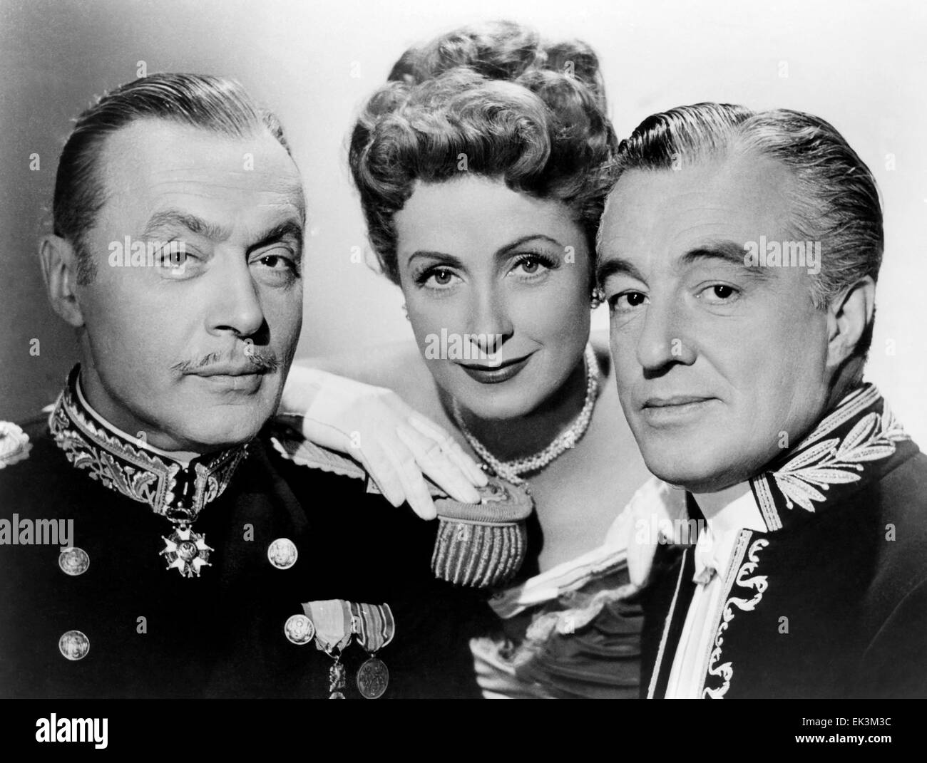 Charles Boyer, Danielle Darrieux, Vittorio De Sica, on-set of the Film 'The Earrings of Madame De…' 1953 - Stock Image