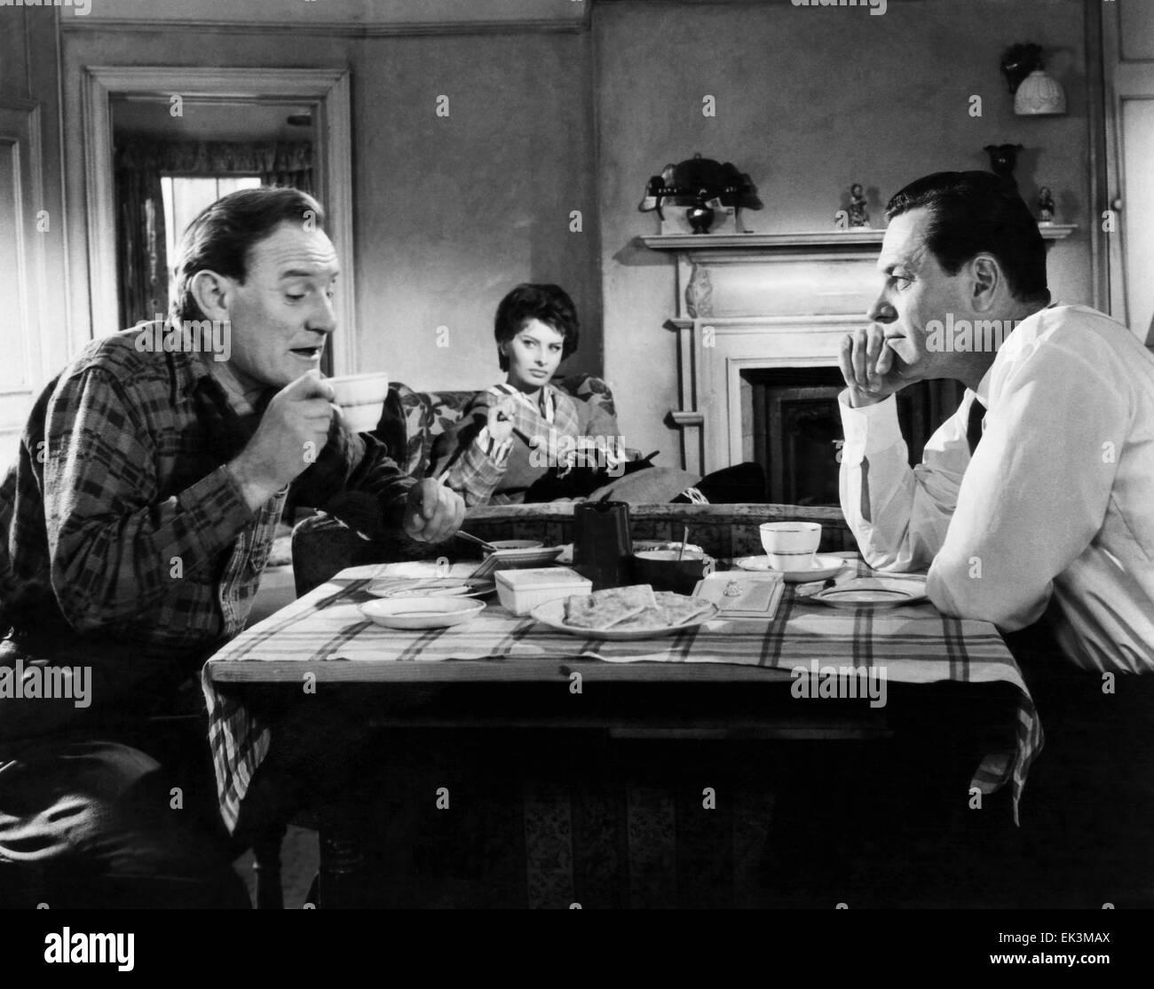 Trevor Howard, Sophia Loren, William Holden, on-set of the Film 'The Key', 1958 - Stock Image