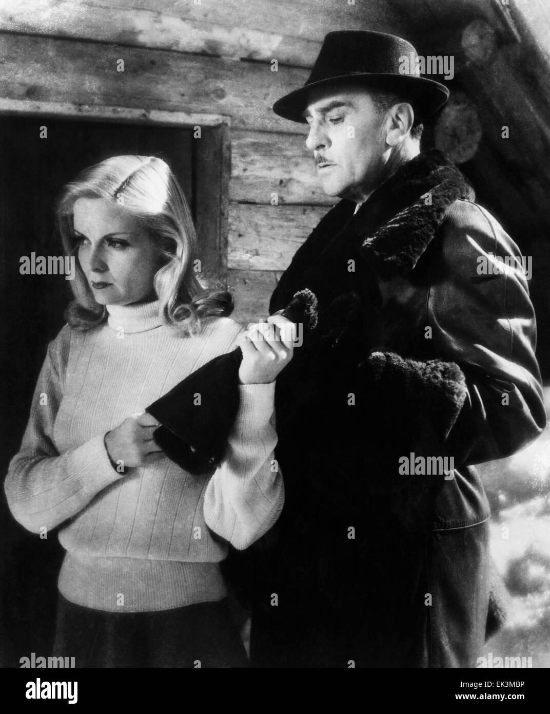 Madeleine Sologne, Jean Murat, on-set of the Film 'Love Eternal' (aka L'eternel Retour, aka The Eternal - Stock Image