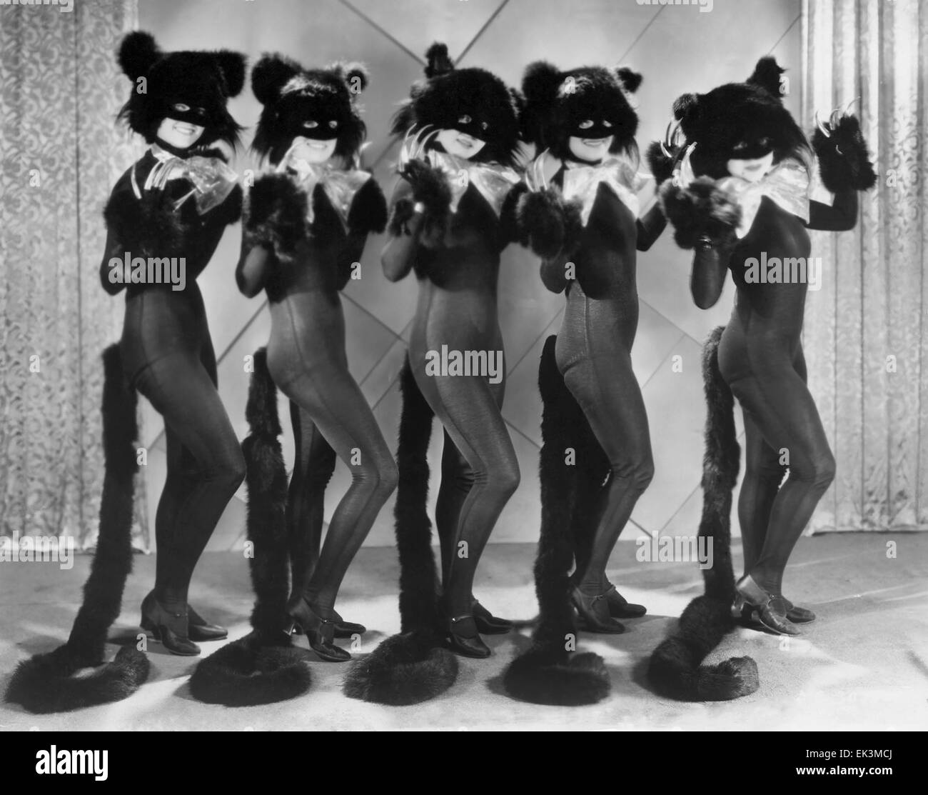 Chorus Girls in Cat Costumes  for 'Cat Walk' Routine, on-set of the Film 'Madam Satan', 1930 - Stock Image
