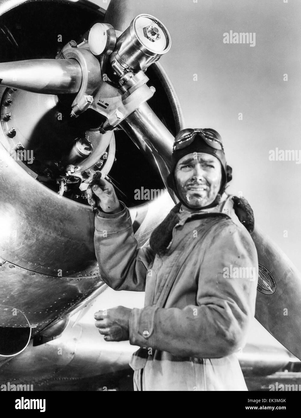 Clark Gable, on-set of the Film 'Test Pilot', 1938 - Stock Image