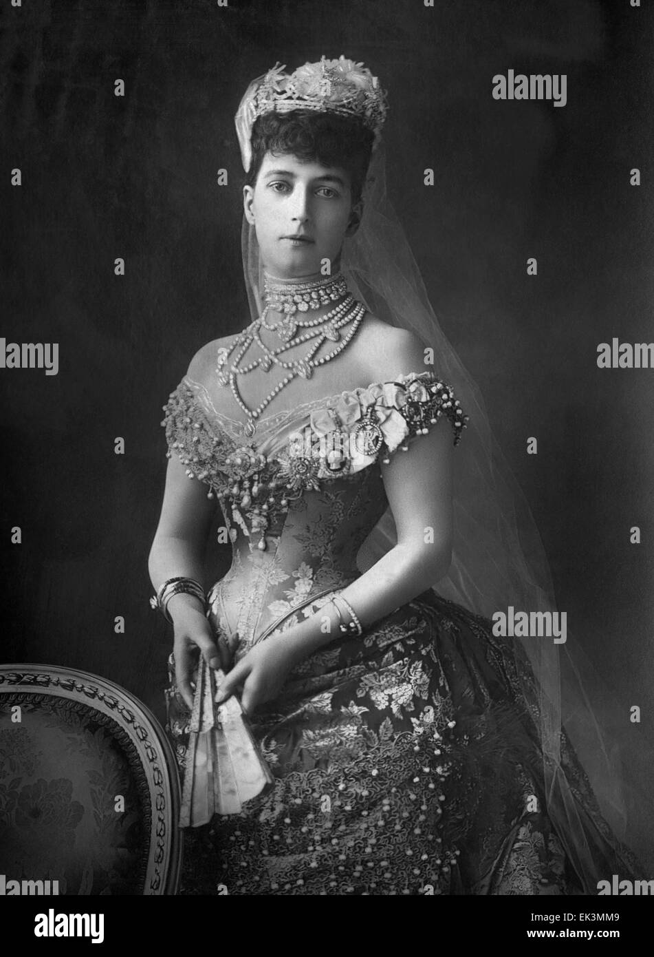 Alexandra of Denmark (1844-1925) Queen Consort of United Kingdom and Empress of India as Wife of King Edward VII - Stock Image