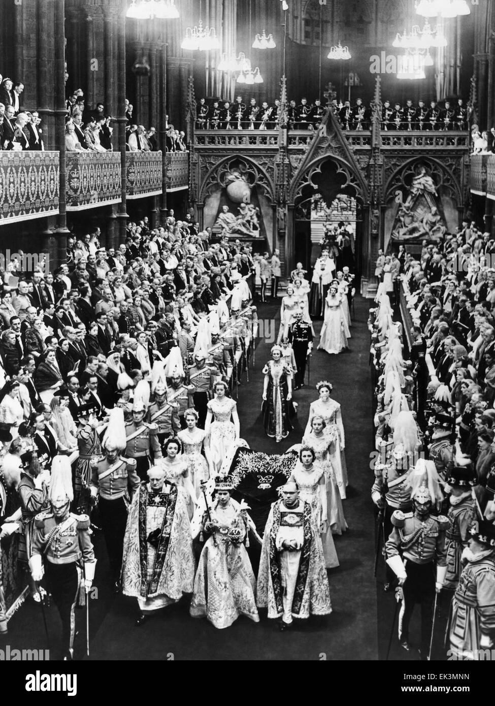 Queen Elizabeth II,  on her Coronation Day, June 2, 1952 - Stock Image