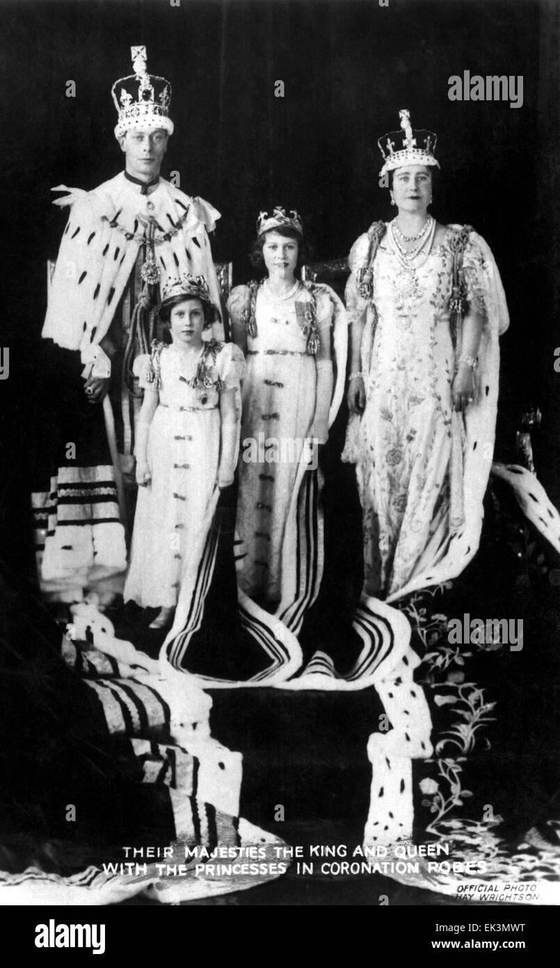 King George VI, H.M. Queen Elizabeth, Princesses Elizabeth and Margaret, of United Kingdom, at Coronation, May 12, - Stock Image