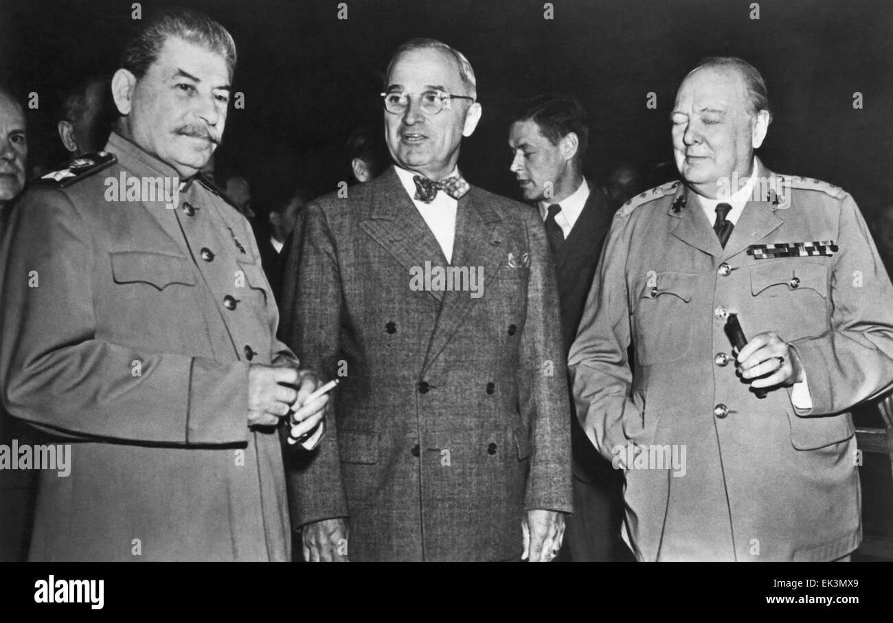 U.S. President Harry S. Truman (center) Soviet Premier Joseph Stalin British Prime Minister Winston Churchill Potsdam - Stock Image