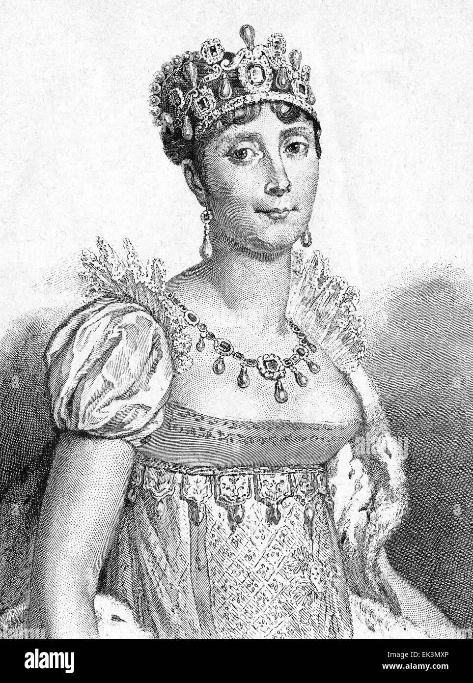 Empress Josephine de Beauharnais, Consort to Napoleon I, of France, at her Coronation, 1804 - Stock Image