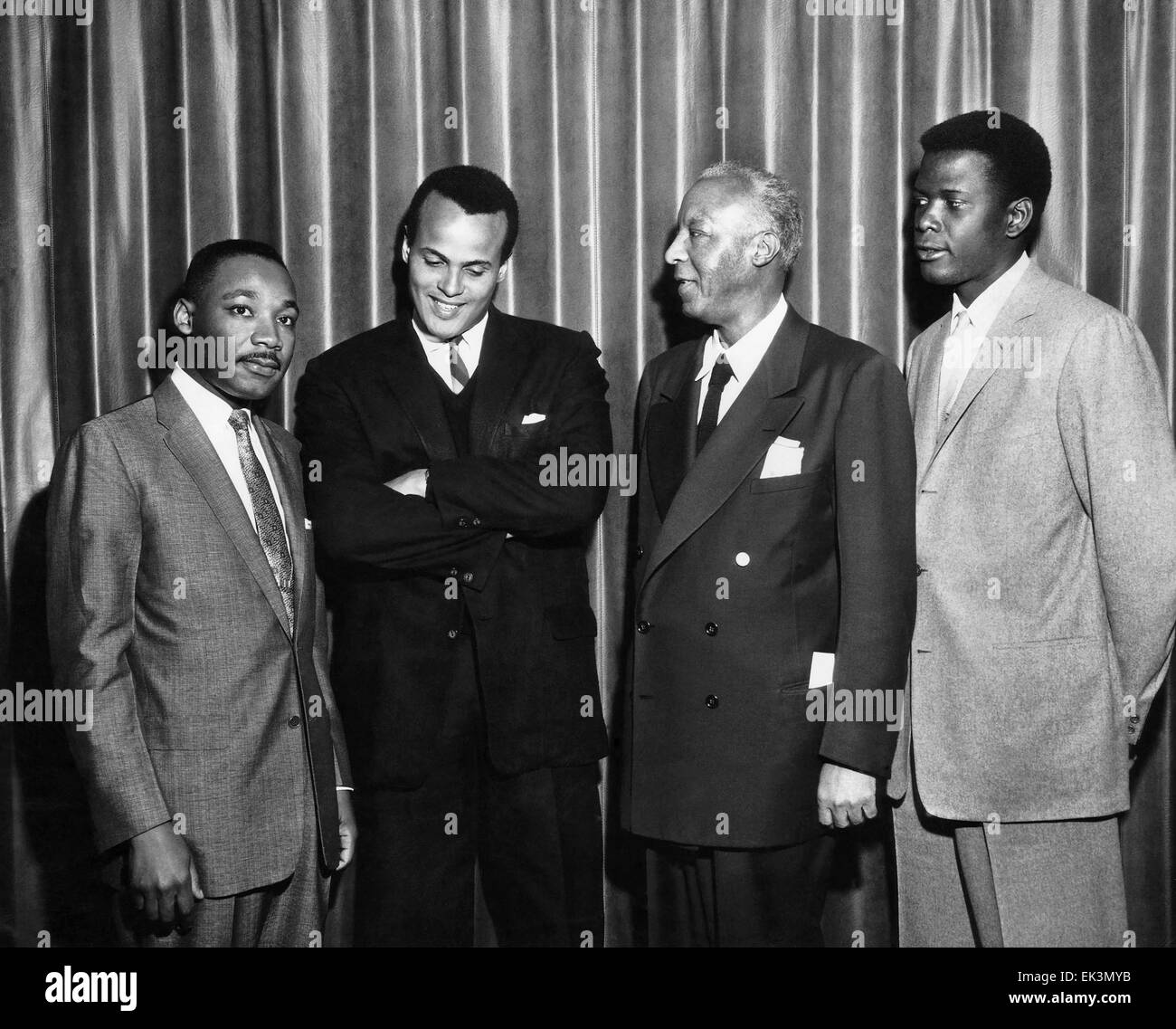 Martin Luther King, Jr., Harry Belafonte, Asa Philip Randolph, Sidney Poitier, Portrait, circa 1960 Stock Photo
