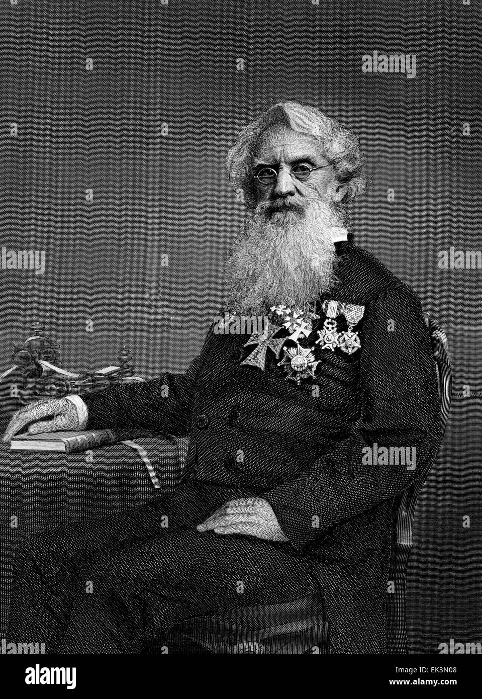 Samuel F.B. Morse, Inventor of the Telegraph, Engraved from Portrait by Alonzo Chappel, circa 1860's - Stock Image