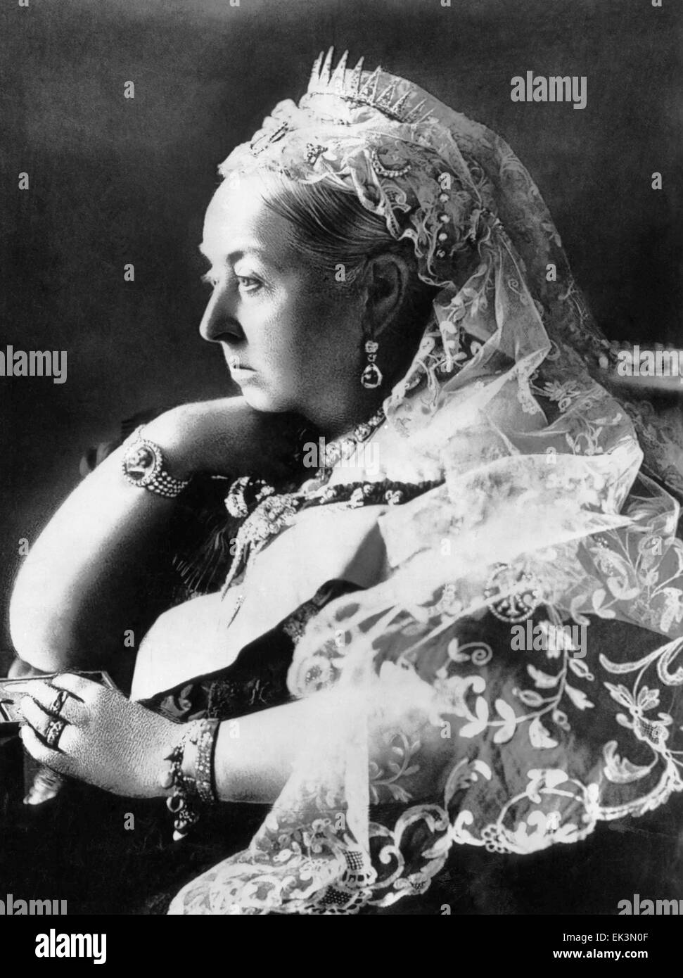 Queen Victoria, of the United Kingdom, Portrait, circa 1890 - Stock Image