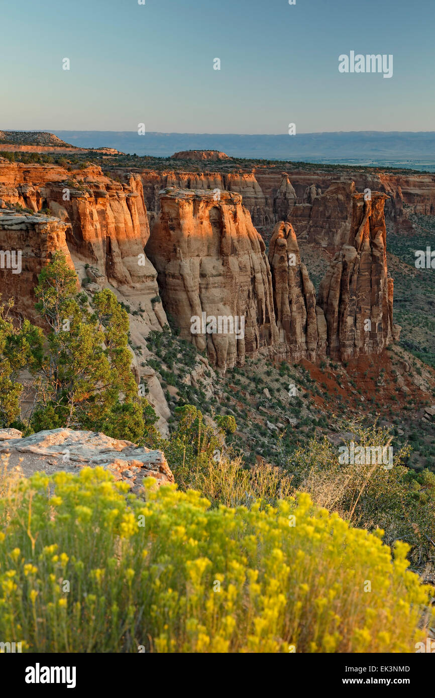 Sandstone monuments, formations, 'Kissing Couple'  from Monument Canyon View, Colorado National Monument, - Stock Image