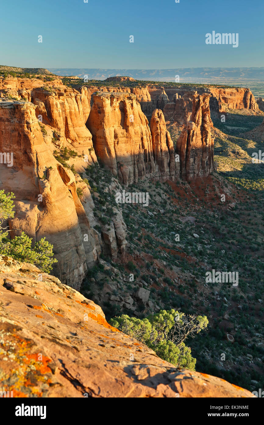 Sandstone monuments and formations from Monument Canyon View, Colorado National Monument, Grand Junction, Colorado - Stock Image