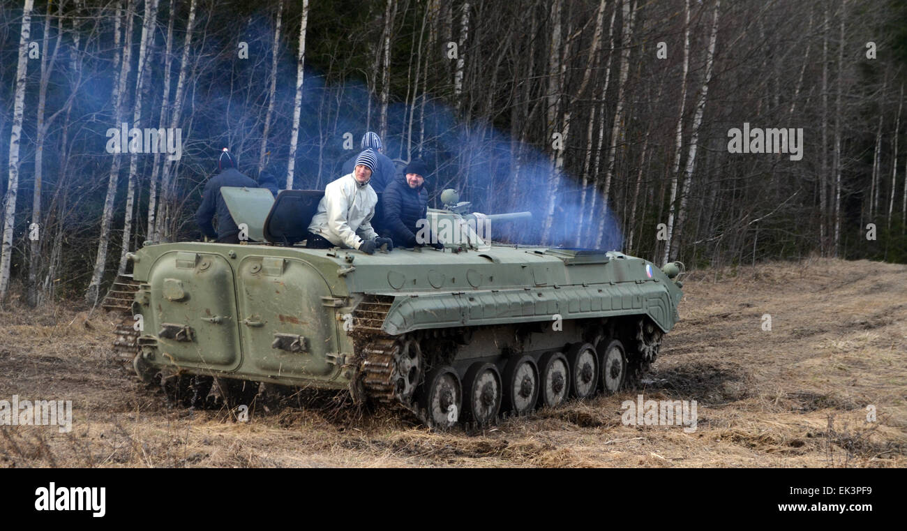 A Russian made army tank BMP1 on a fundrive usage. This tank was created early 70´s, and was in production - Stock Image