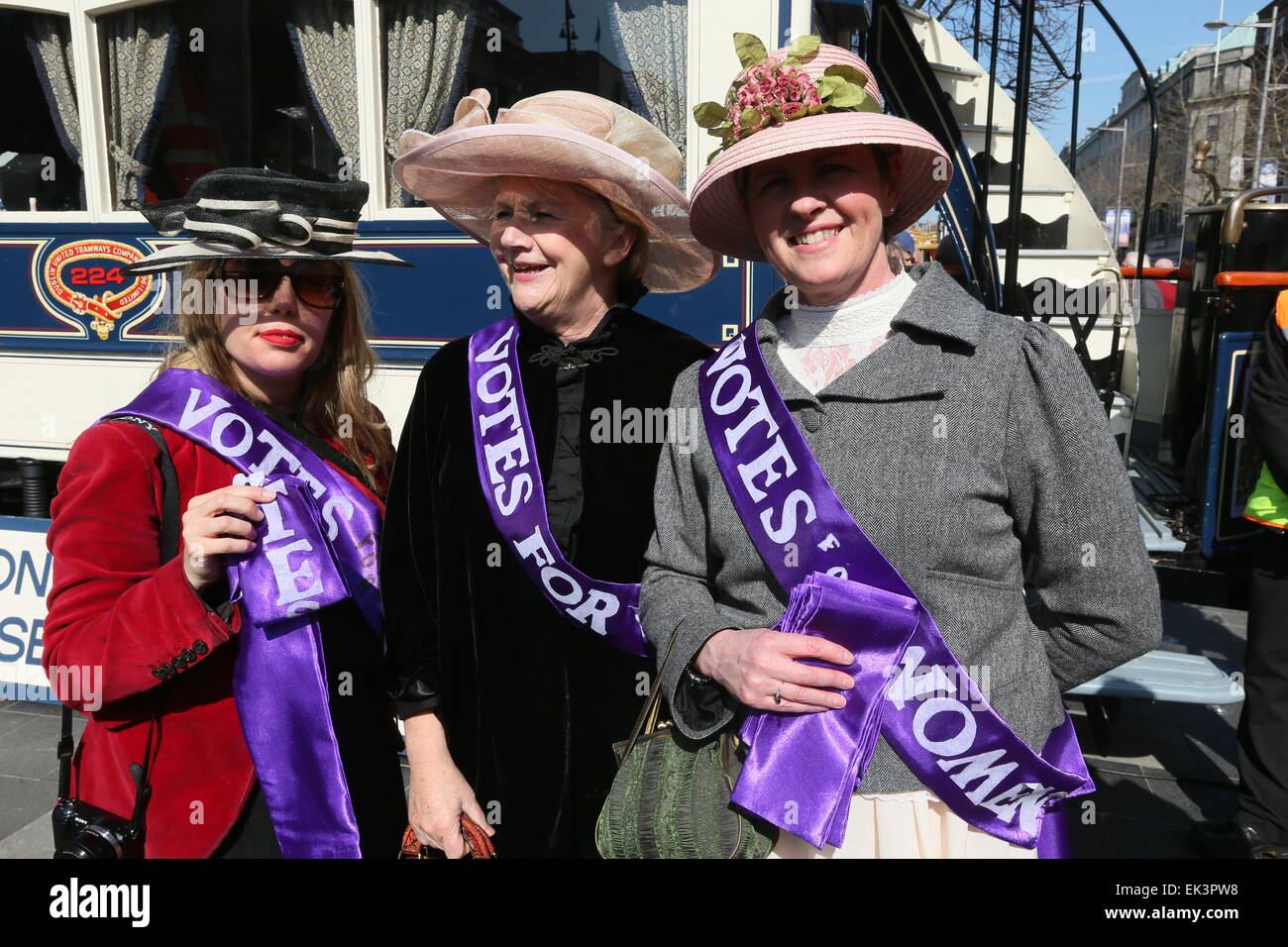 Dublin, Ireland. 06th Apr, 2015. Women dressed as Suffragettes during the recreation of Easter 1915 in Dublin city Stock Photo