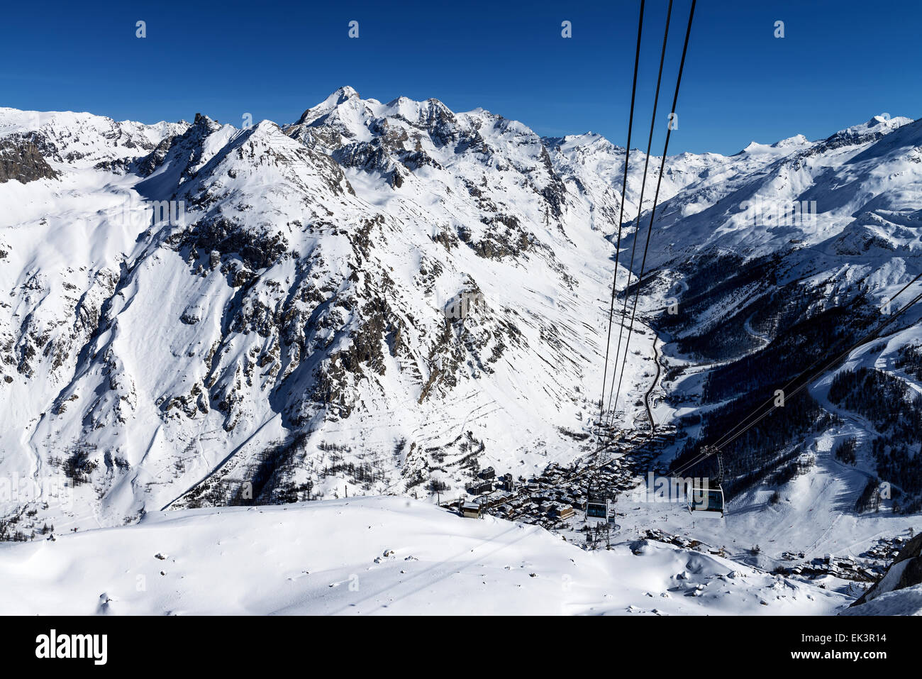 Cablecar to Val d'Isere, Alps in winter, Tarentaise, France Stock Photo