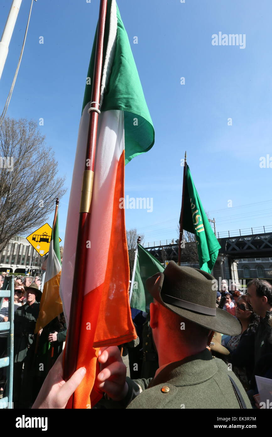 Dublin, Ireland. 06th Apr, 2015. Image from Dublin city  where a ceremony and re-enactment of the hoisting of the Stock Photo