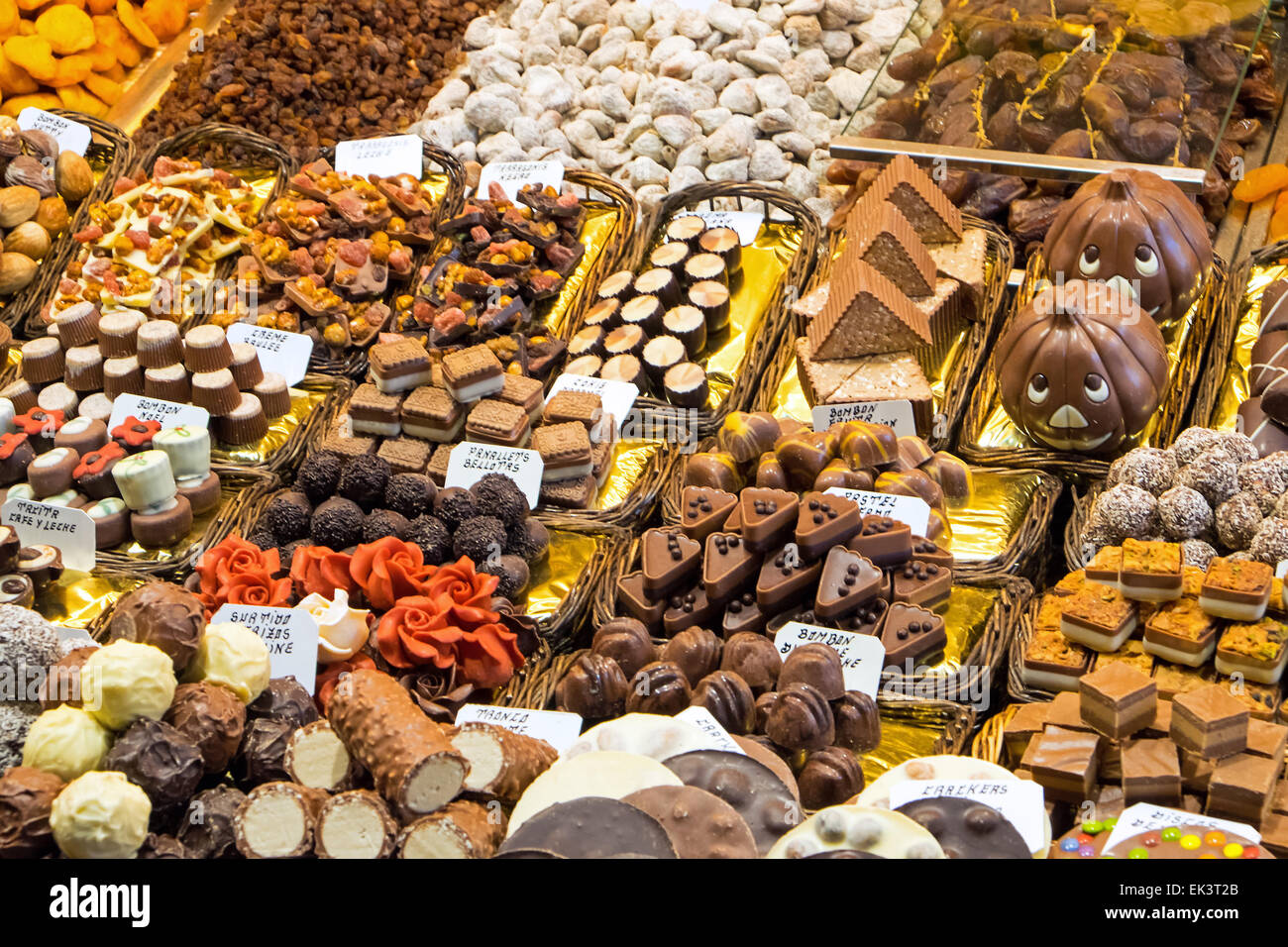 Pralines for sale at the Boqueria market in Barcelona - Stock Image