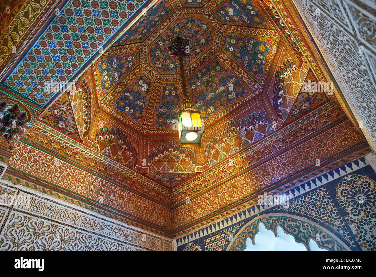 Painted wooden ceiling at Bahia Palace, Marrakech, Morocco, Africa Stock Photo