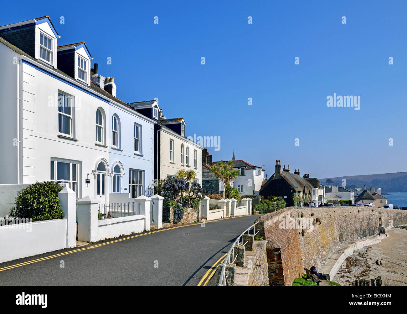 Seafront properties at St.Mawes in Cornwall, UK - Stock Image