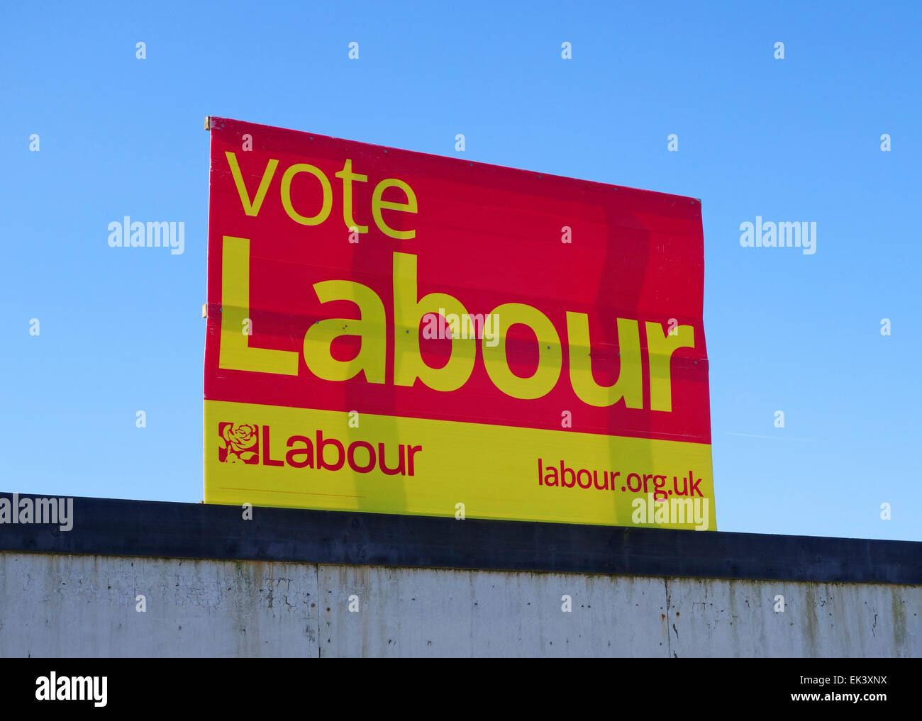 Vote Labour promotional poster - Stock Image