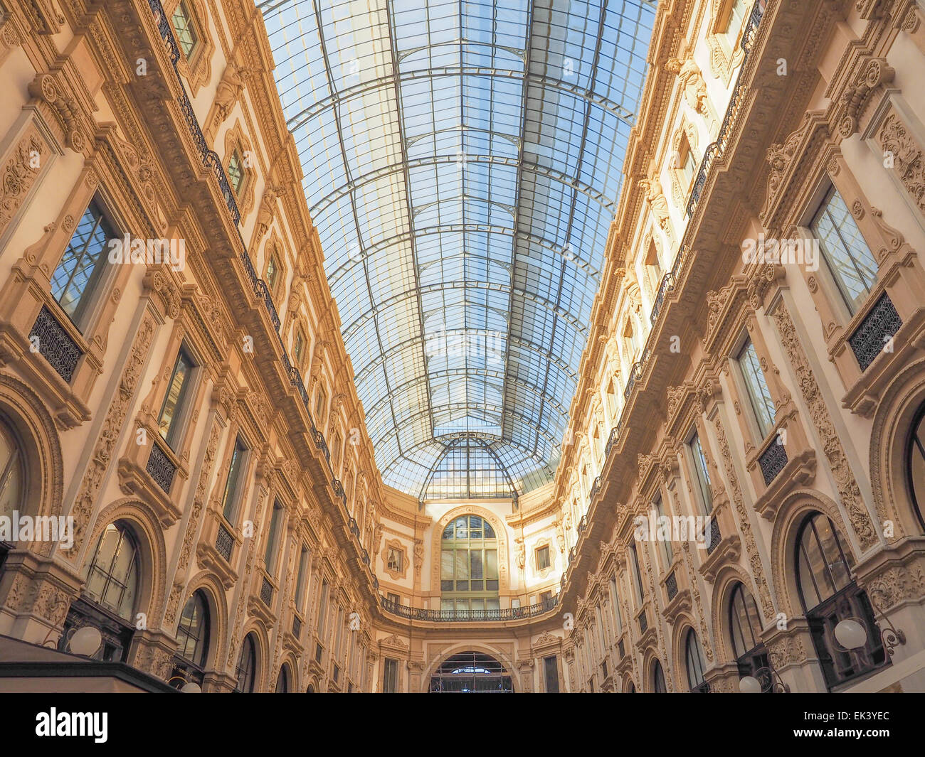 MILAN, ITALY - MARCH 28, 2015: The Galleria Vittorio Emanuele II has been recently restored for the Expo Milano - Stock Image