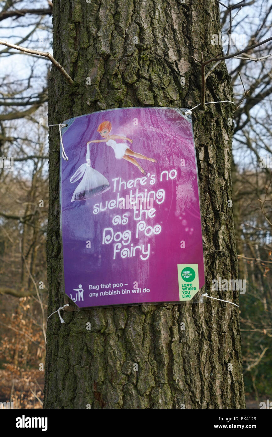 Sign asking dog walking owners to clean up their mess. Theres no such thing as the dog poo fairy. - Stock Image