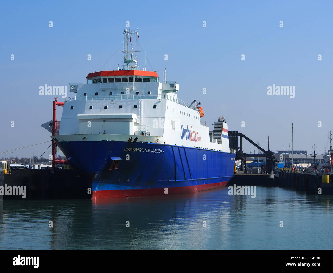 The Condor Ferries ship Commodore Goodwill, berthed in Portsmouth international Port, Hampshire England - Stock Image