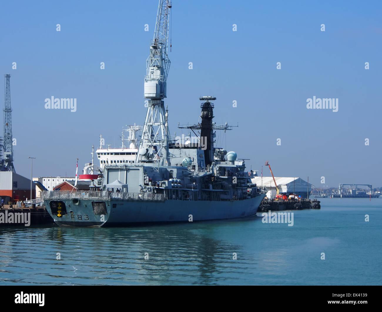 Duke class frigate HMS St Albans F83 undergoing maintenance in HM dockyard Portsmouth - Stock Image